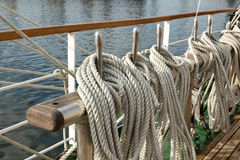 Running rigging of a sailing ship Royalty Free Stock Photo