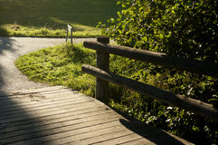 Running road. Wooden bridge, place for running Royalty Free Stock Images