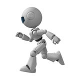 Running robot. A white robot running or jogging Stock Photo