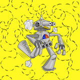 Running the robot emits a signal. Yellow background Royalty Free Stock Image
