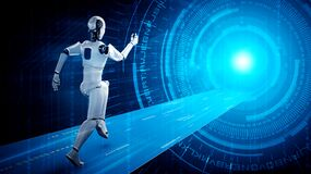 Free Running Robot Humanoid Showing Fast Movement And Vital Energy Stock Photos - 217065893