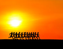 Running runners in the morning. Royalty Free Stock Photos