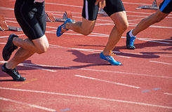 Running on the running track Stock Photos