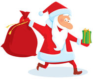 Running santa. With a bag and gifts vector illustration
