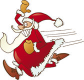 Running santa claus. Illustration of running happy santa claus Royalty Free Stock Images