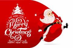 Santa Claus carrying huge bag stock illustration