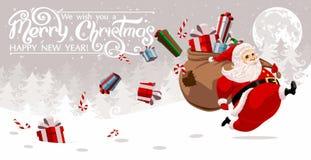 Running Santa Claus stock illustration