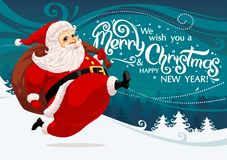 Running Santa Claus. Carrying sack full of gifts and candys vector illustration