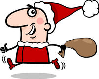 Running santa claus cartoon illustration Stock Image
