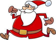 Running santa claus cartoon Stock Photos