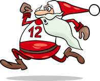Running santa claus cartoon illustration Stock Photo