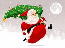 Running Santa Claus vector illustration