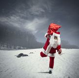 Running Santa Claus Royalty Free Stock Photo