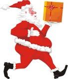 Running santa claus winth gift royalty free stock image