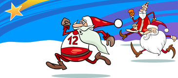Running santa greeting card cartoon Stock Photo