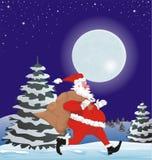 Running santa with present sack Royalty Free Stock Image
