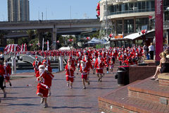 Running santas. royalty free stock images