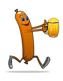 Running sausage with beer Stock Images