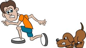 Running Scared. Illustration of a man running from a dog Stock Photos