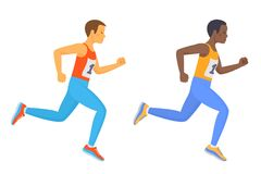 The running school boy set. Flat vector illustration. The running school boy set. Side view of active caucasian and afro american kids in a sportswear. Sport Stock Photos