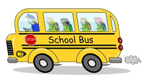 Running School Bus Children. Illustration of a school bus heading in a rush to school with four happy children isolated on white background. Eps file is Stock Photos