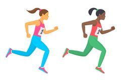 The running school girl set. Flat vector illustration. The running school girl set. Side view of active caucasian and afro american kids in a sportswear. Sport Royalty Free Stock Images