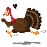 Running screaming cartoon turkey Royalty Free Stock Photography