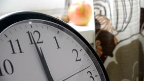 Running Second Hand Of A Clock In The Kitchen Timelapse. Clock In The Kitchen: Closeup In The Foreground Of The Frame. Second Hand Runs. On Blurred Background stock video
