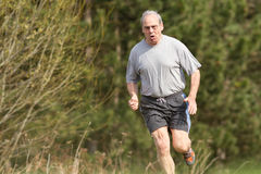 Running senior. Senior athlete running in a competition Royalty Free Stock Photo