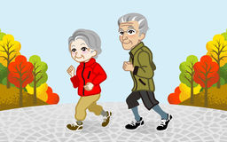 Running Senior Couple in the Autumn park-EPS10 Royalty Free Stock Photo