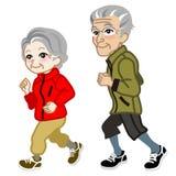 Running Senior couple Isolated Stock Photos