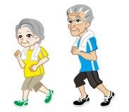 Running Senior Couple, Short sleeve Stock Photos