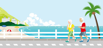 Running senior couple in the Summer Seaside street. Vector Illustration stock illustration