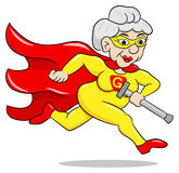 Running senior super heroine with cape. Vector illustration of a running senior super heroine with cape Royalty Free Stock Images