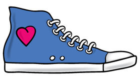 Running shoe. Illustration of generic blue running shoe with pink heart and shading stock illustration