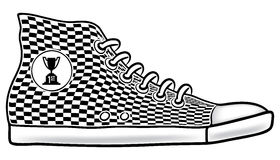 Running shoe first place. Illustration of running shoe with checkered pattern and first place cup race trophy icon Royalty Free Stock Image