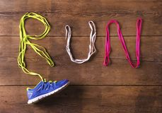 Running shoe on the floor Stock Images