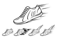 Running shoe icons with speed, motion and fire trails. Running shoe icons, sneaker or sports shoe with speed, motion and fire trails Stock Photo