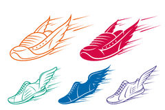 Running shoe icons with speed and motion trails Stock Photos