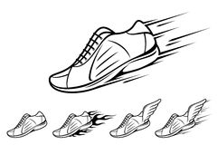 Running shoe icons, sports shoe with motion and fire trails Royalty Free Stock Image