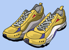 Running shoes. Illustration of a pair of yellow running shoes - Blue background royalty free illustration