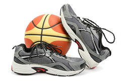 Running shoes and ball Stock Photos