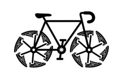 Running shoes on bike wheel. Simple ride icon. royalty free stock photo