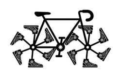 Running shoes on bike wheel. Simple ride icon. stock photos