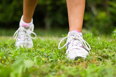 Running shoes close-up.  Female runner. Stock Images