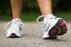 Running shoes close-up.  Female runner. Royalty Free Stock Photo