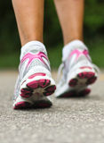 Running shoes close-up.  Female runner. Stock Photography