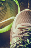 Running shoes closeup. Sport concept royalty free stock photography