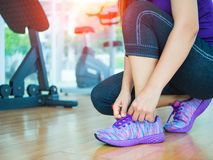 Closeup of woman tying shoe laces. Female sport fitness runner getting ready for jogging in gym room. Running shoes - closeup of woman tying shoe laces. Female stock images