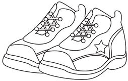 Running shoes coloring page. Useful as coloring book for kids Stock Photo